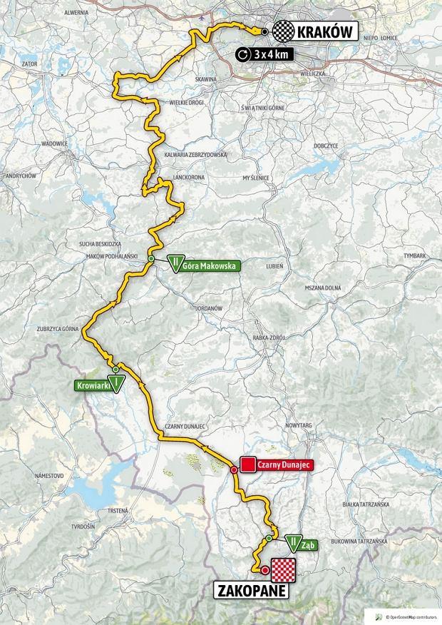 Mapa piątego etapu wyścigu kolarskiego Tour de Pologne 2020