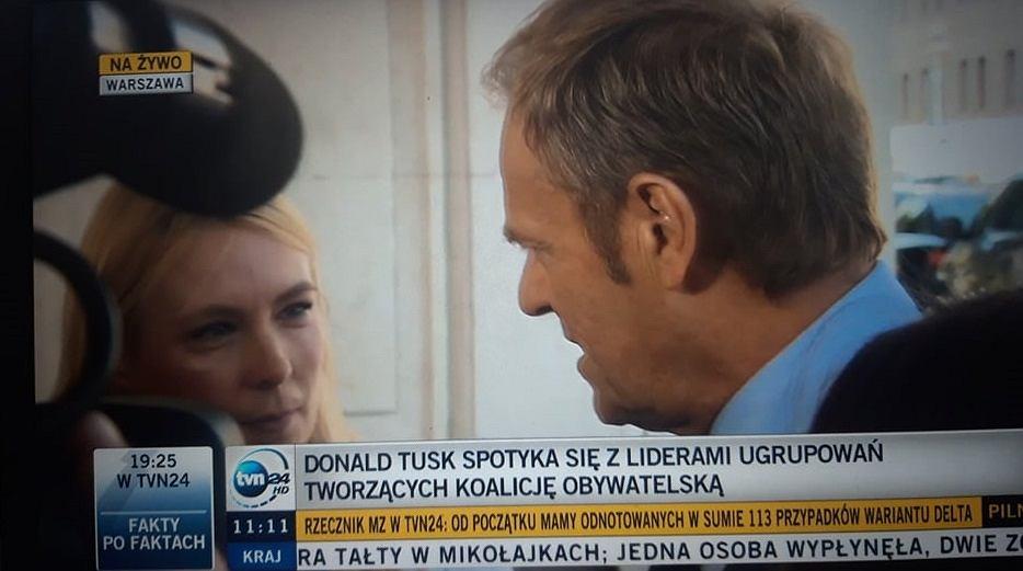 Tusk w rozmowie z dziennikarką TVP Info