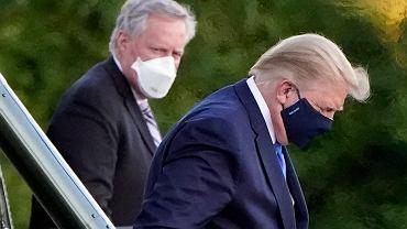 2.10.2020, Bethesda, Maryland, zarażony koronawirusem Donald Trump w drodze do szpitala.