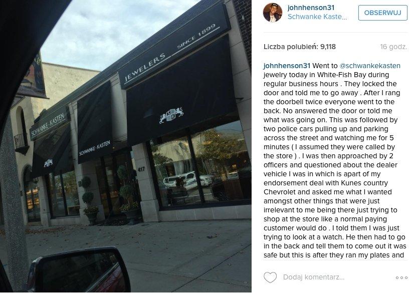 Wpis na Instagramie Johna Hensona