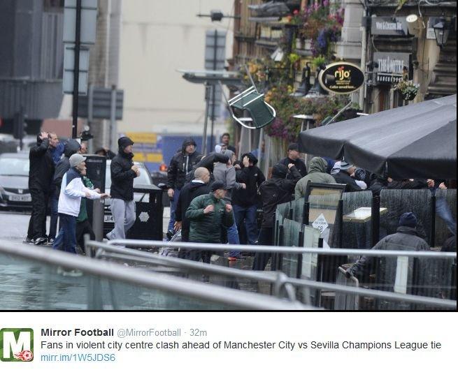 Bójka przed meczem Manchester City - Sevilla