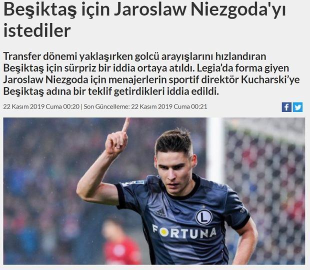 Besiktas zainteresowany Jarosławem Niezgodą