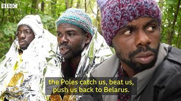 Kadr z materiału BBC na temat sytuacji na polsko-białoruskiej granicy