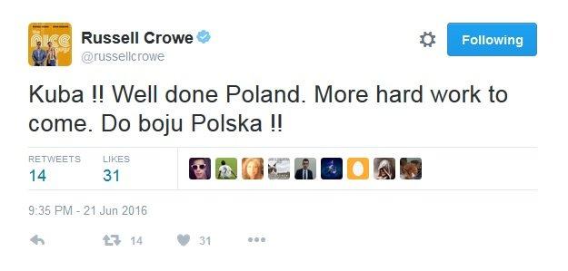 Russell Crowe o reprezentacji Polski