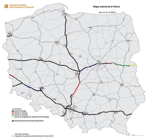 Sieć autostrad w Polsce - aktualna mapa