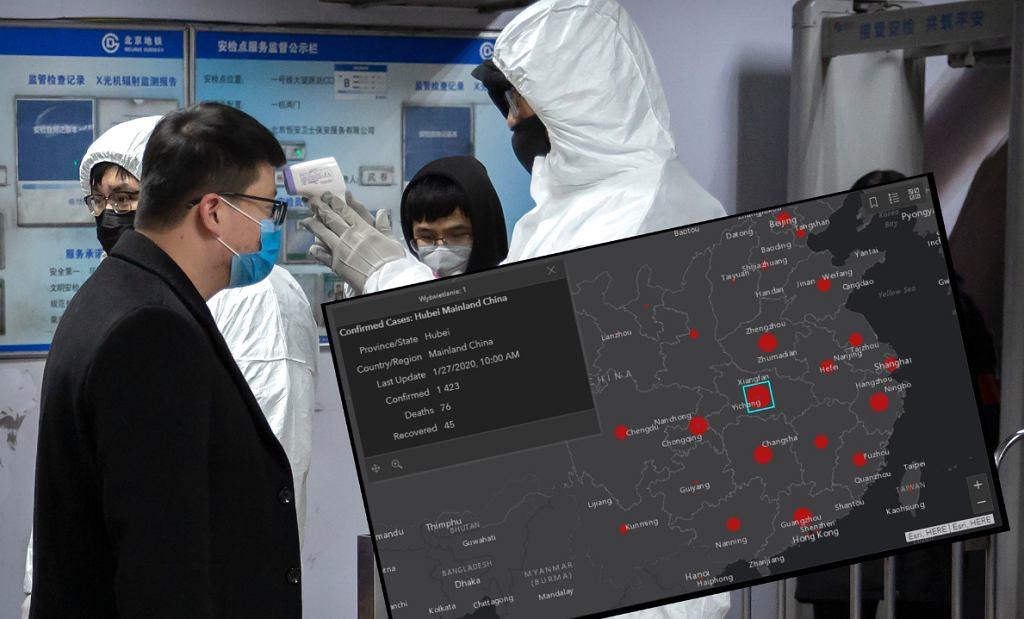 Koronawirus z Chin się rozprzestrzenia. Na zdjęciu sprawdzanie temperatury pasażera metra w Pekinie.