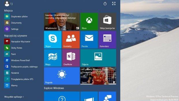 Menu Start w Windows 10
