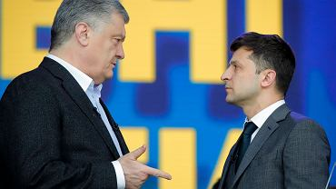 19.04.2019, Kijów, debata prezydencka na Stadionie Narodowym, Petro Poroszenko i Wołodymyr Zełenski