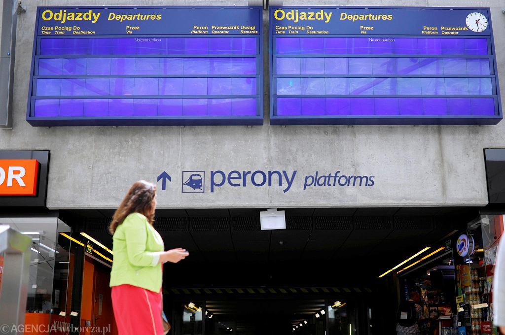 Katowice, dworzec PKP, nieczynne tablice