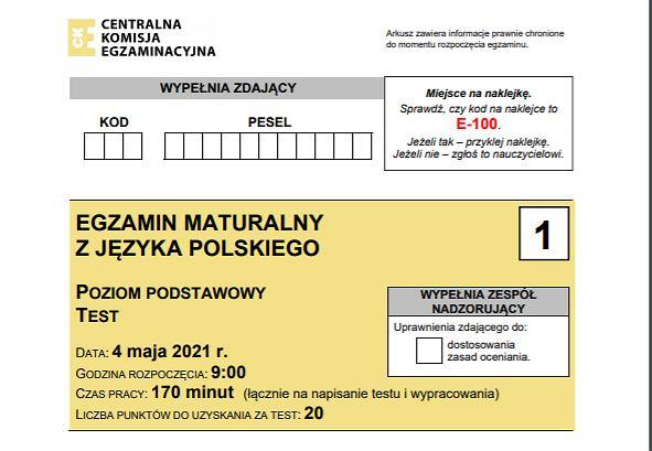 Arkusz CKE matura j. polski 2021
