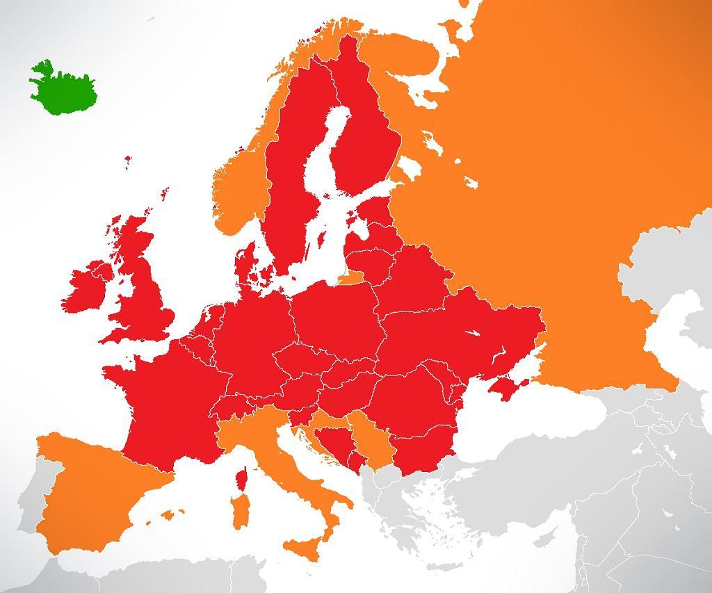 Czerwonym kolorem oznaczono kraje, które zamknęły swoją przestrzeń powietrzną w całości, a kolorem pomarańczowym te kraje, które zrobiły to częściowo. Dane z 18 kwietnia 2010 r.