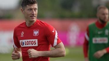 Trening reprezentacji Polski, na zdjęciu Robert Lewandowski