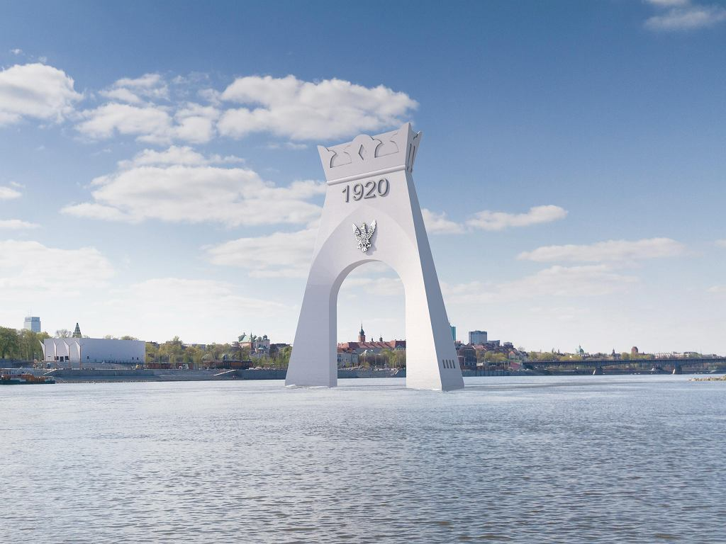 Wizualizacja Łuku Triumfalnego Bitwy 1920 r. w nurcie Wisły. Taki pomnik promował Jan Pietrzak