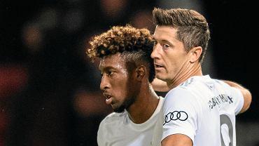 Kingsley Coman i Robert Lewandowski w meczu Pucharu Niemiec (Energie Cottbus - Bayern Monachium)