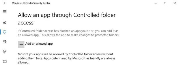 Windows 10 Controlled Folder