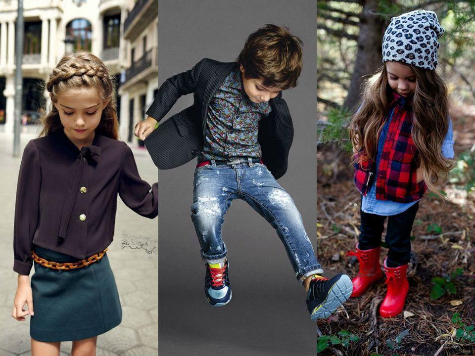 Dziecięce stylizacje w mocnym kolorze (zdj. pinterest.com, kolaż Avanti24)