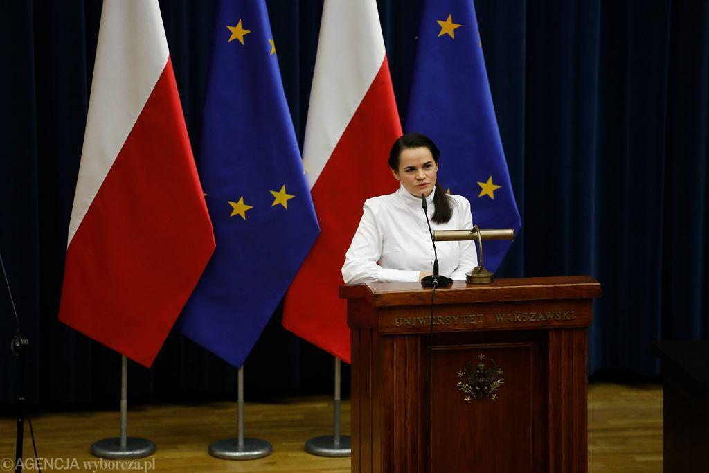 Swiatłana Cichanouska na Uniwersytecie Warszawskim