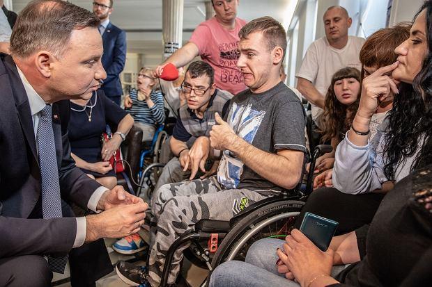 Andrzej Duda w Sejmie u protestujących niepełnosprawnych, 20.04.2018