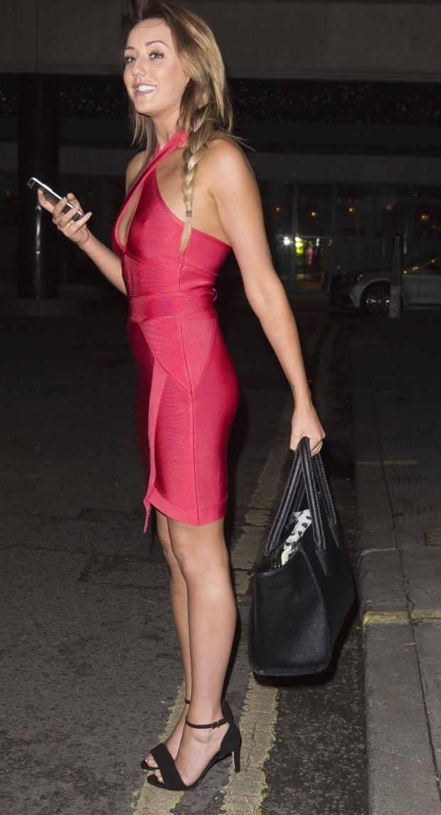 Picture Shows: Charlotte Crosby November 19, 2014 **Bikini pictures taken in Portugal on the 14th of June, 2014.** Geordie Shore Star Charlotte Crosby flaunts her incredible weight loss outside the Soho Hotel in a figure hugging red dress in London, England. The Big Brother winner looked stunning with a side braid and black heels as she went out for the night. Exclusive All Rounder WORLDWIDE RIGHTS Pictures by : FameFlynet UK  2014 Tel : +44 (0)20 3551 5049 Email : info@fameflynet.uk.com