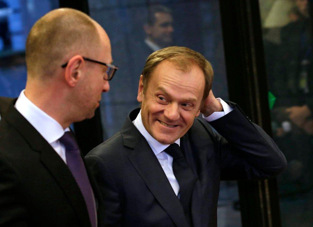 Premier Ukrainy Arsenij Jaceniuk i Donald Tusk już jako szef Rady Europejskiej