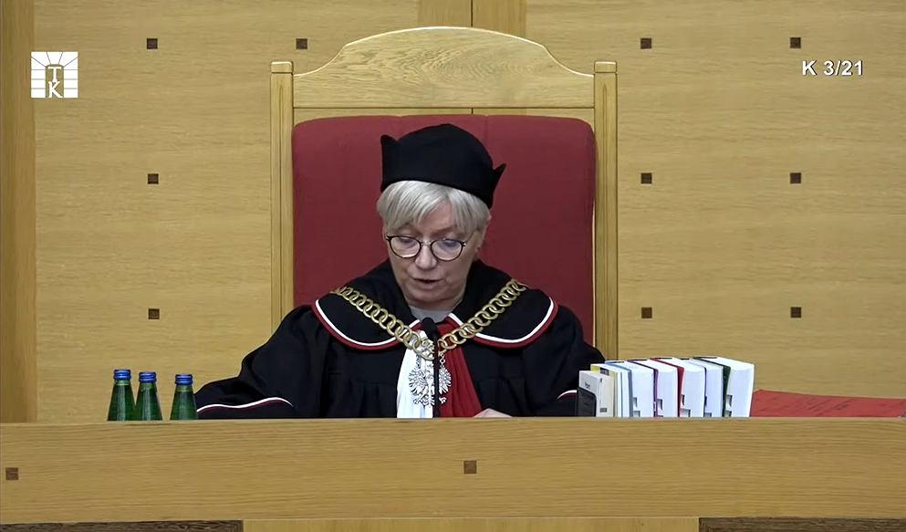 Julia Przyłębska podczas ogłaszania wyroku