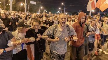 Mińsk, 9 sierpnia 2020 r. Pierwszy dzień protestów przeciw sfałszowaniu wyborów prezydenckich na Białorusi