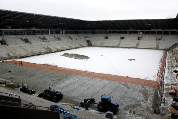 Stan budowy stadionu w Tychach - połowa stycznia 2014