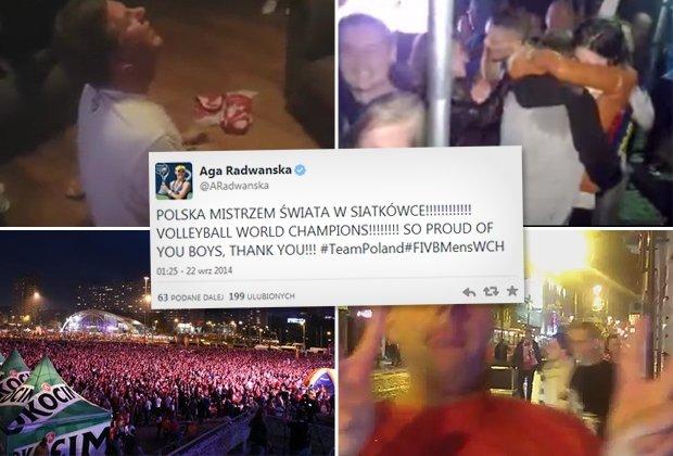 Polacy cieszą się ze zwycięstwa polskich siatkarzy