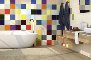 Kolorowe płytki w łazience - aranżacje