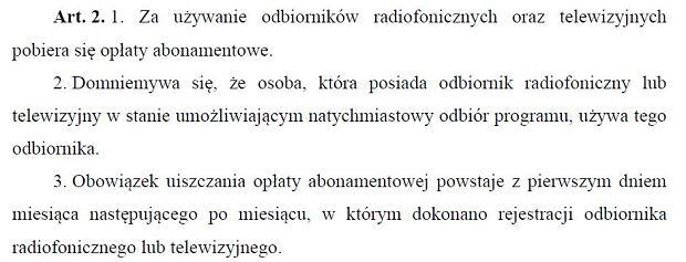 Fragment ustawy z dnia 21 kwietnia 2005 r. o opłatach abonamentowych