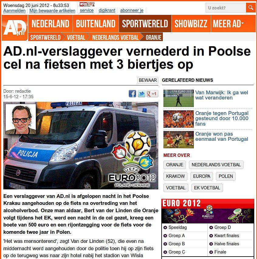 Holenderska gazeta AD szeroko relacjonowała historię swojego dziennikarza zatrzymanego na rowerze za jazdę po piwie.