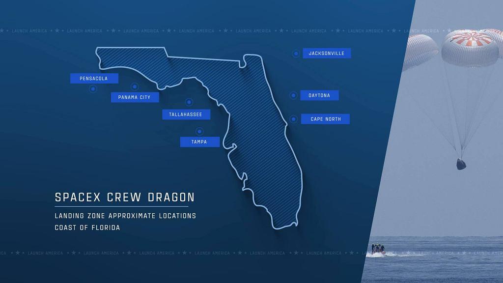 Potencjalne rejony lądowania kapsuły Crew Dragon