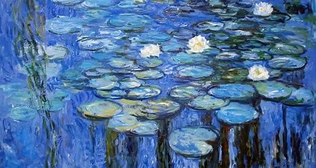 Jeden z obrazów z 'Lilie wodne', które Claude Monet malował przez ostatnie 30 lat życia. Po zabiegu usunięcia zaćmy lilie przyjęły błękitny odcień/