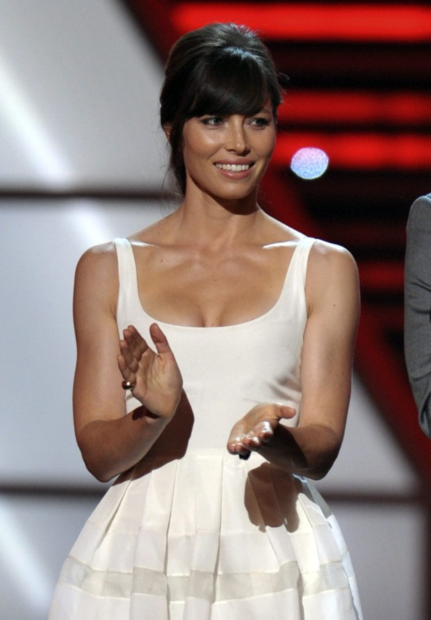 Jessica Biel speaks onstage at the ESPY Awards on Wednesday, July 11, 2012, in Los Angeles. (Photo by John Shearer/Invision/AP)