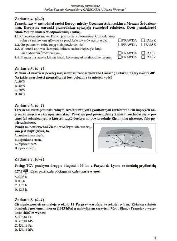 Próbny egzamin gimnazjalny grudzień 2011
