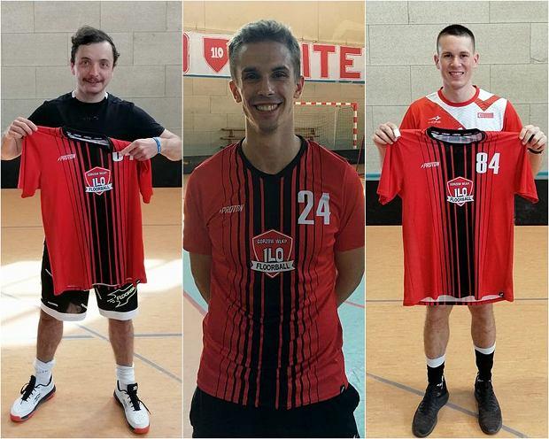 Nowi zawodnicy I LO UKS Floorball Gorzów. Od lewej: Michał Karski, Michał Kozubal i Dawid Korpan