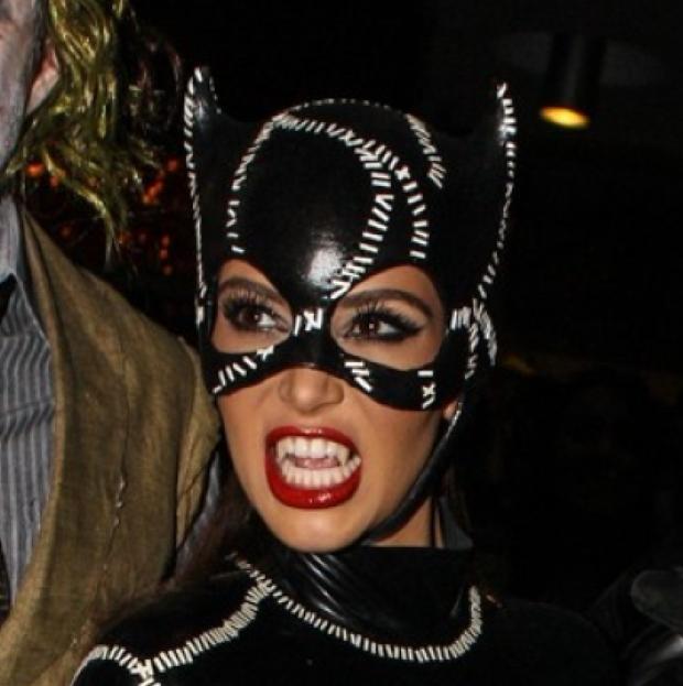Kim Kardashian, Kanye West, Kourtney and Scott dressed up as Superheroes while celebrating Halloween in Miami at club Liv.  Pictured: Kim Kardashian