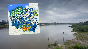Mapa wodowskazów IMGW. Stan rzek w Polsce