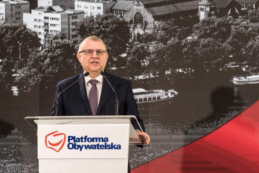 Kazimierz Michał Ujazdowski podczas spotkania Platformy Obywatelskiej i prezentacji kandydata na prezydenta Wrocławia, 7 kwietnia 2018.