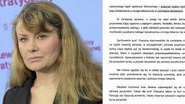 Katarzyna Piekarska i fragment złozonego przez SLD zawiadomienia