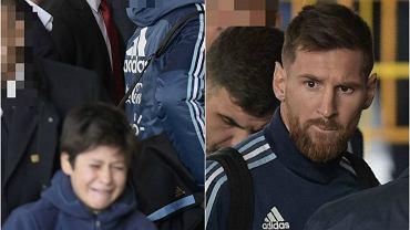 Leo Messi przytula wiernego fana, odpędzonego przez ochronę