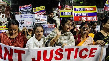Protestujące kobiety w Indiach