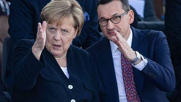 Kanclerz Niemiec Angela Merkel z premierem Mateuszem Morawieckim podczas uroczystości 80. rocznicy wybuchu II wojny światowej