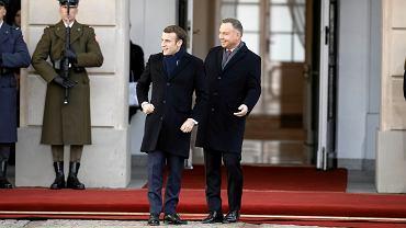 Prezydenci Francji i Polski Emmanuel Macron (z lewej) i Andrzej Duda w Pałacu Prezydenckim w Warszawie, 3 lutego 2020 r.