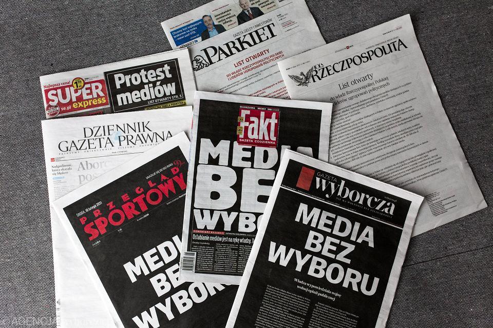 10 lutego 2021 r. większość polskich mediów wzięła udział w proteście 'Media bez wyboru'