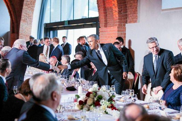 Barack Obama podczas spotkania w Arkadach Kubickiego