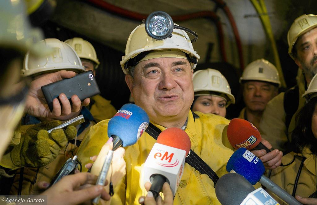 Wiceminister energii Grzegorz Tobiszowski w kopalni Budryk w Ornontowicach