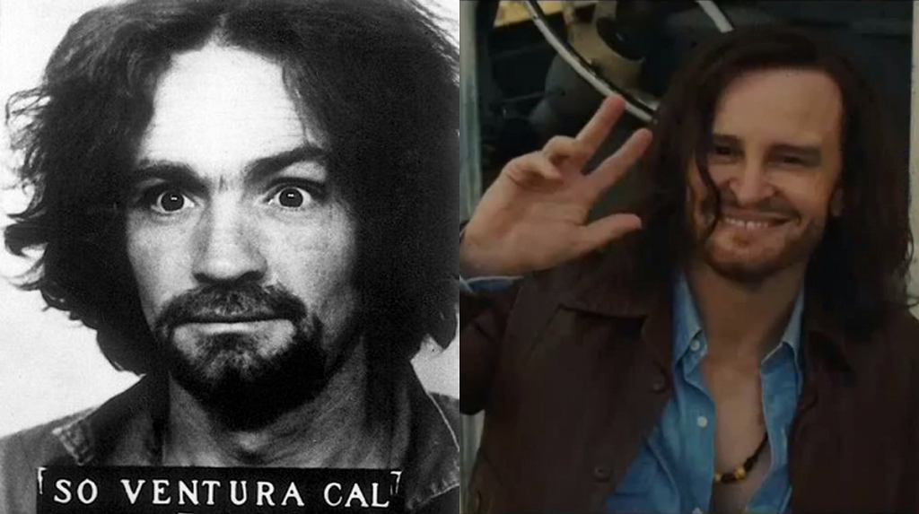 Charles Manson w więzieniu w 1968 (Wiki Commons)/Damon Herriman jako Charles Manson w klipie promocyjnym do 'Once Upon a Time... in Hollywood' (Youtube/The Jose Critic)