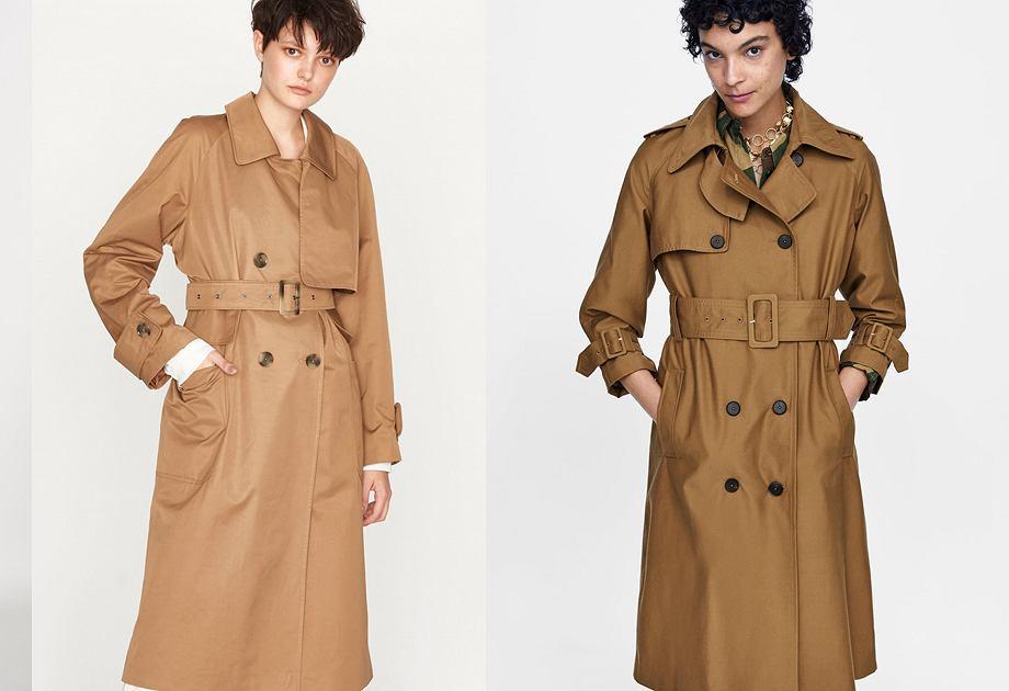 Po lewej płaszcz z kolekcji polskiej marki Elementy 579 złotych, po prawej Zara 399 złotych