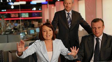 Marcin Lewandowski, Danuta Holecka i Adrian Klarenbach w nowym studio TVP Info w 2008 r.
